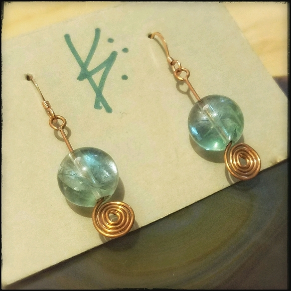 Fluorite crystal sphere Artisan earrings
